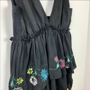NWT Anthropologie Black Embroidered Floral Dress